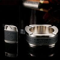 HONEST Ashtray & Lighter Set Metal Leather Ashtray Cigar Jet Lighter Mens Gift