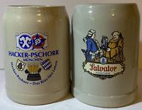 German Beer Stein Mug Hacker-Pschorr Brau Munchen .5 Liter and Salvator Munchen