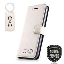 SURAZO® Echtes Leder Handy Hülle Wallet Case Cover Weiß Porzelan - Unendlichkeit