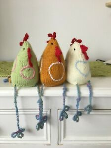 Hand knitted Easter Chickens. 5inches tall a bit of fun for Easter