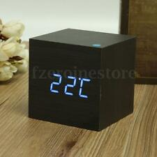 Wood Cube LED Digital Alarm Temperature Clock Voice Control USB/ Battery Powered