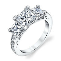925 Sterling Silver 3 Stone Princess Cut Cubic Zirconia Engagement Wedding Ring