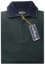 MAGLIA UOMO lana rasata M L XL XXL XXXL maglione collo zip verde VELE dei MARI