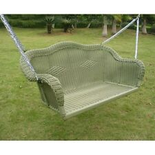 Green Resin Wicker Hanging Love Seat Porch Swing Home Patio Furniture Outdoors