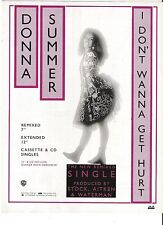 DONNA SUMMER I Don't Wanna Get Hurt magazine ADVERT/Poster/clipping 11x8 inches