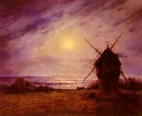 Oil painting Ferdinand Loyen Du Puigaudeau - le moulin a vent the windmill art