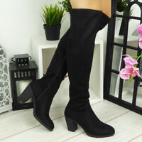 Womens Knee High Boots Ladies Black Fashion Winter New Zip Faux Suede Heel Shoes