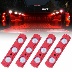 Xprite Red 4PC 12 LED Rock Lights UnderBody Strip Pod Panel 4X4 Off-Road Truck