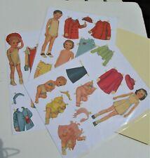 Vintage Paper Dolls - 6 children inc twins - clothes & acces - pre-cut