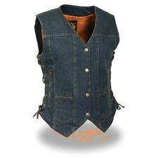 Women's Motorcycle *Side Laces Denim Vest W/ *Gun Pockets **MDL4020(BLACK)(BLUE)