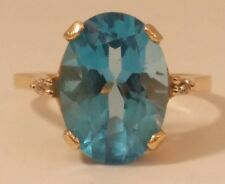 Genuine Swiss Blue Topaz & Diamond 14k Gold Ring, finger size 8