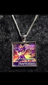 Retro Gaming Necklace And Keyring  Playstation PS1 Spyro The Dragon Skylanders