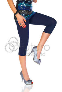 Womens Cropped 3/4 Leggings Active Capri Length Stretchy Pants Sizes 8-20
