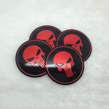4pcs Wheel Center Hub Caps Punisher Skull Metal Emblem Badge Decal Sticker Red