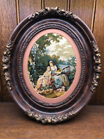Antique Victorian Needlepoint Picture Carved Wood Walnut Oval Ornate Frame  (C)