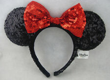 New Disney Parks Minnie Mouse Black Red Bow Sequins Ear Headband Costume Party