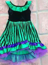 "Purple, Green Fancy Dress Velvet Storybook Heirlooms Xs (girl size 7), waist 24"""