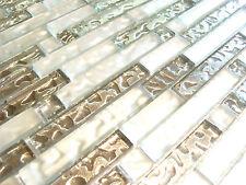 Mosaico di vetro Vetro chiaro 8mm mosaico piastrella ARGENTO LUCIDO BIANCO OPACO smfts 101 effetto