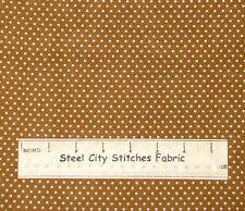 VIP Small Cream Polka Dot Dark Golden Brown Background Cotton Fabric 1.750 Yards