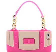 Elegante BORSETTA BORSA MORBIDA IN SILICONE GOMMA GEL iPHONE 5 COVER PELLE ROSA.