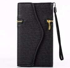 iPhone 4 4s Luxury Wallet Leather Case Zipper Cases Card Holder Cover BLACK