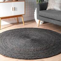 Rug Jute Black Reversible 120x120 Cm Round Rug Bohemian Area Dhurrie Boho Carpet