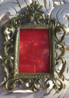 """Brass Victorian Ornate Picture Frame 9 3/4"""" X 7 1/4"""" Glass Heavy Beautiful"""