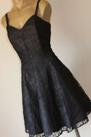 "VINTAGE 80's ""LITTLE BLACK DRESS"" SUNFLOWER NET LACE PARTY DRESS 14"