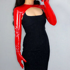 LATEX BOLERO GLOVES Shine Leather Faux Patent Red Top Jacket Cropped Shrug