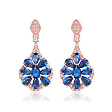 HUCHE Retro Luxury 18K Rose Gold Filled Blue Sapphire Gemstone Women Earrings
