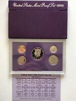 USA 1993 Proof Set San Francisco Original Box PP polierte Platte 1c-50c
