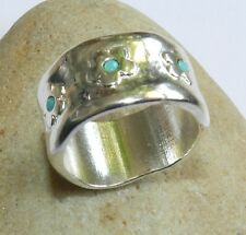 Silver Sterling 925 Plated Slide Band Ring Flowers Turquoise Beads Sz 8