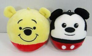 "Hallmark Disney Fluffballs Mickey Mouse & Winnie The Pooh Plush Balls 4"""