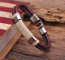 G113 Brown A Surfer Hemp Leather Hand Wrap Men's Wristband Bracelet Cuff New