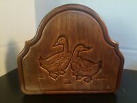Chicken Rooster Wood Wooden Napkin Holder Vintage Farmhouse Rustic Shabby
