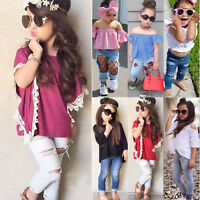 2tlg Kleinkind Kinder Baby Mädchen T-shirt Tops + Denim Jeans Hosen Outfits Set