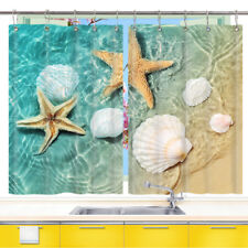 Beach Starfish Shell Window Curtain Treatments Kitchen Curtains 2 Panels 55X39""
