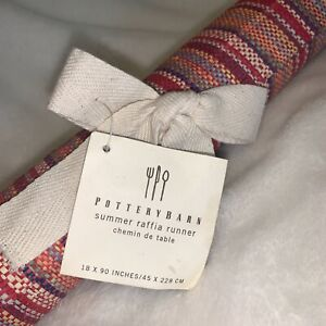 NWT Pottery Barn Summer Raffia Table Runner 18 x 90 Inches Colorful Striped