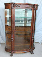 Antique fine carved Oak Curved China Curio Cabinet