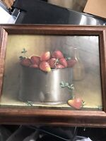 Vintage Donald F Allan Strawberries Tin Can Signed 1950s Picture