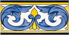 """Handbemalte spanische Bordüre, 10 x 20 cm, """"Cenefa Acanthus"""", Wandfliese, Fliese"""