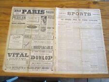 """Rare N°1297  du quotidien (PARIS/VELO) """"LE JOURNAL DES SPORTS"""" daté du 9/7/1897"""