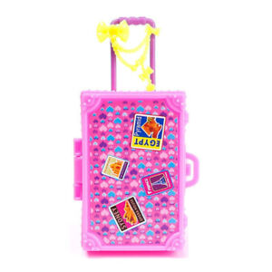Kids Toy Plastic 3D Cute Travel Suitcase Luggage Case Trunk For 1/6 Dollhouse
