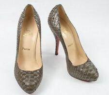 Authentic Christian Louboutin Pewter Snakeskin Stiletto Shoes Pumps UK 4.5/37.5