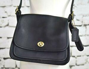 COACH LEGACY RAMBLER Vintage Black Turnlock Leather Purse Shoulder Bag 9061 EUC