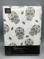 Cynthia Rowley Tablecloth Sugar Skull Halloween Silver Shimmer 60x102 Cloth NEW