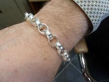 Sterling Silver Belcher Bracelet -  Pattern & Plain - 27 grams   G1170