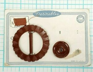 Vintage Brown Button with Matching Buckle on Card Early Plastic