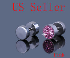 "Stainless Steel Pink Crystal Men s Earrings Ear Studs 0.31"" HOT 0"
