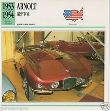 FICHE AUTOMOBILE GLACEE US USA CAR ARNOLT BRISTOL 1953-1954